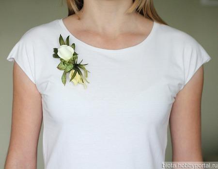 Брошь белая роза и каллы, букет цветов ручной работы ручной работы на заказ
