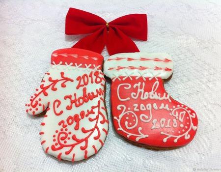 Пряник Новогодний сапожок/носок поздравительный ручной работы на заказ