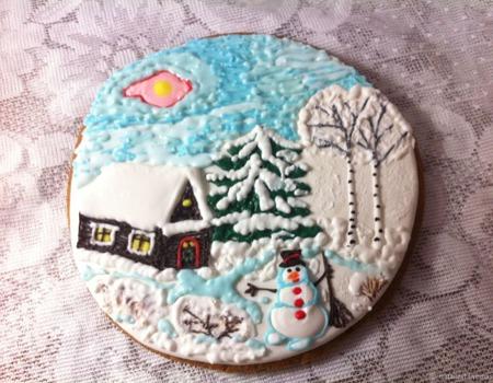 """Пряник-картина """"Зимний домик и снеговик"""" ручной работы на заказ"""