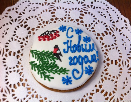 """Пряник """"Снегирь Новогодний"""" ручной работы на заказ"""