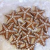 Пряник снежинка-звездочка новогодний расписной