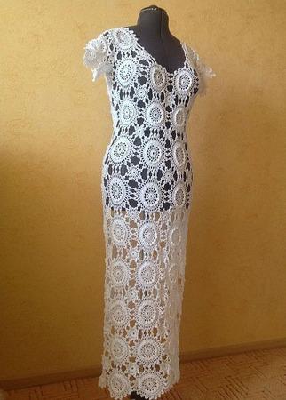 """Платье """"Белый ажур"""" ручной работы на заказ"""