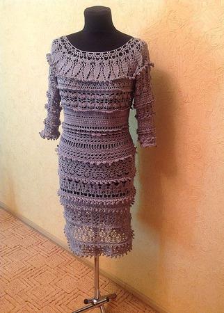 """Платье """"Серая дымка"""" ручной работы на заказ"""