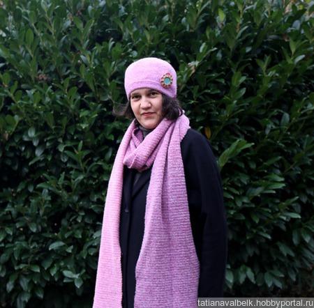 Вязаный шарф длинный с бахромой из мохера ручной работы на заказ