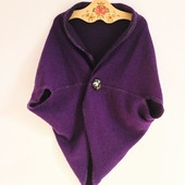 """Жилет безрукавка """"Прованс"""" фиолетовый шерстяной большой размер теплый"""