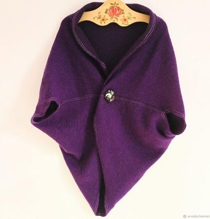 """Жилет безрукавка """"Прованс"""" фиолетовый шерстяной большой размер теплый ручной работы на заказ"""