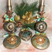 """Новогодние шары """"Малахит"""""""