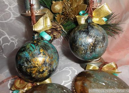"""Новогодние шары """"Малахит"""" ручной работы на заказ"""
