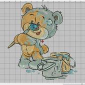 """Дизайн для вышивки """"Мишка с красками"""""""