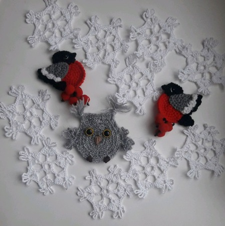 Снежинка вязаная ручной работы на заказ