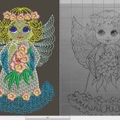 """Дизайн для вышивки """"Ангел с цветами"""""""