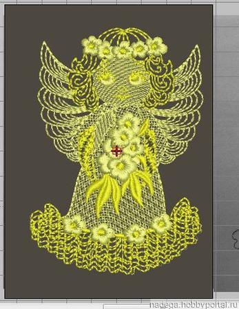 """Дизайн для вышивки """"Ангел с цветами"""" ручной работы на заказ"""