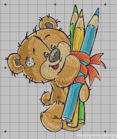 """Дизайн для вышивки """"Мишка с карандашами"""" ручной работы на заказ"""