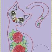 """Дизайн для вязания """"Кошка с розами"""""""