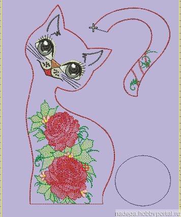 """Дизайн для вязания """"Кошка с розами"""" ручной работы на заказ"""