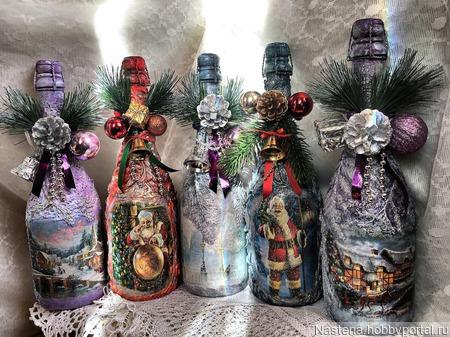Бутылки декорированые ручной работы на заказ