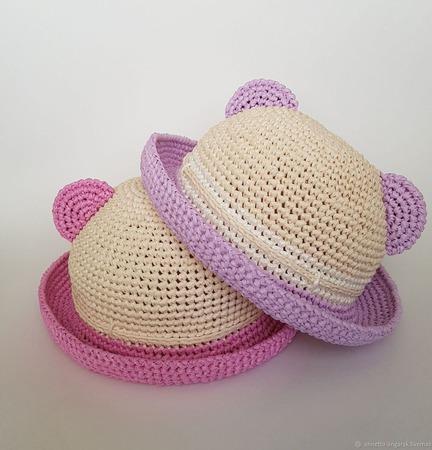 """Мастер-класс детская шляпа """"Тедди"""" (вязание крючком из рафии) ручной работы на заказ"""