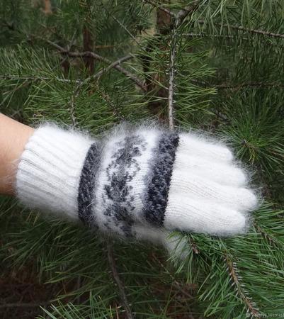 Зимние вязаные тёплые перчатки №4 ручной работы на заказ