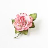 Брошь роза белая с красным