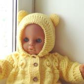 """Вязаный комбинезон с капюшоном """"Baby joi""""(желтый)+пинетки"""