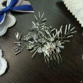 """Свадебный гребень для волос """"Зимние узоры"""" (хрустально-белый)"""