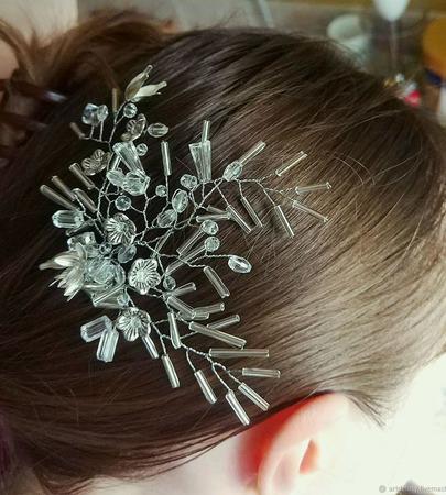"""Свадебный гребень для волос """"Зимние узоры"""" (хрустально-белый) ручной работы на заказ"""