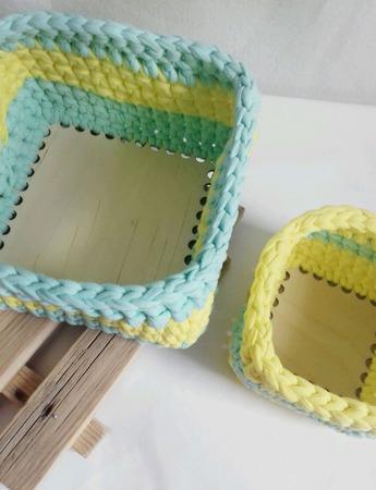 Набор трикотажных корзин с деревянным донышком ручной работы на заказ