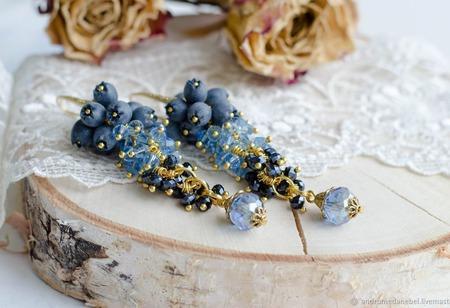 Серьги-грозди Голубика ручной работы на заказ