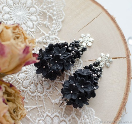 Серьги-грозди Зимняя ночь ручной работы на заказ