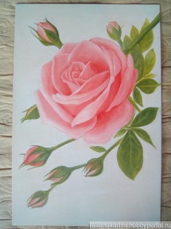 "Картина ""Роза"" ручной работы на заказ"