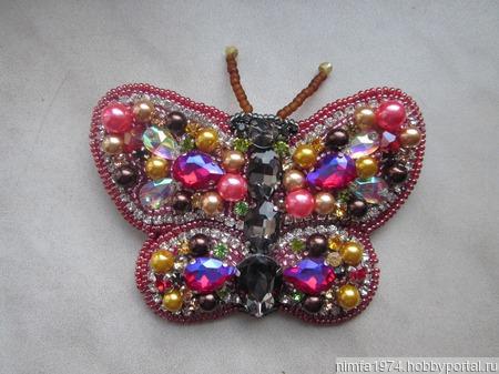 """Брошь """"Рубиновая бабочка"""" ручной работы на заказ"""
