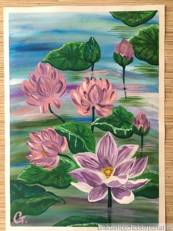 "Картина ""Цветы лотоса"" ручной работы на заказ"