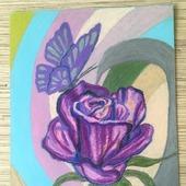 "Картина ""Роза с бабочкой"""