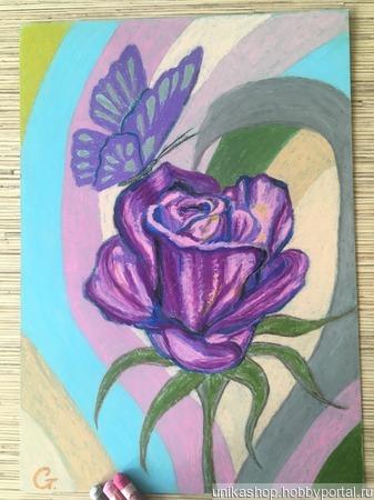"""Картина """"Роза с бабочкой"""" ручной работы на заказ"""