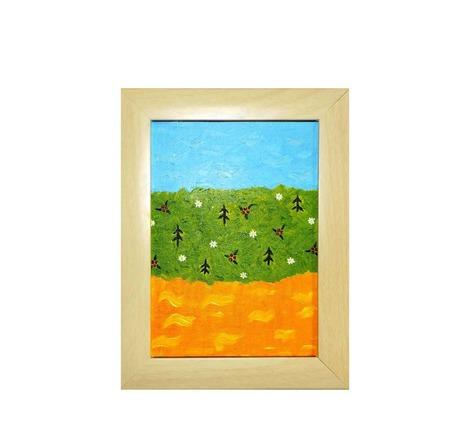 """Картина-перевертыш """"Оранжевая река - оранжевое небо"""" ручной работы на заказ"""