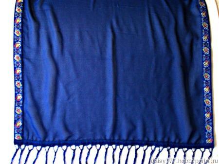 """Синий шарф ручной работы из ткани """"Синее море"""" модель 2 ручной работы на заказ"""