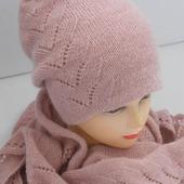 """Комплект вязаный  """" Розовый жемчуг""""  бактус и шапочка-бини"""