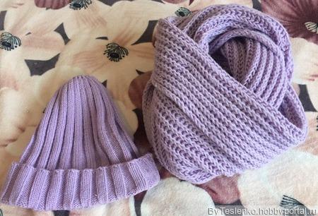 Женский шарф-снуд  и шапка вязанные спицами ручной работы на заказ