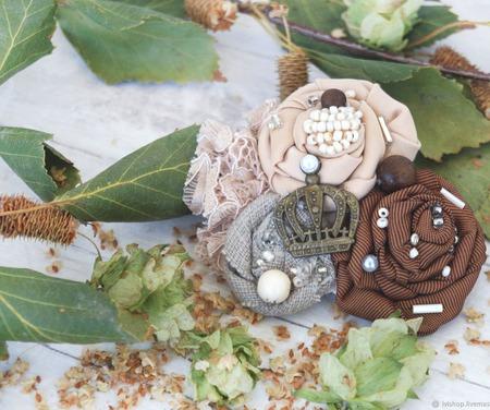 Текстильная бохо брошь Королевская (осенняя серия) ручной работы на заказ