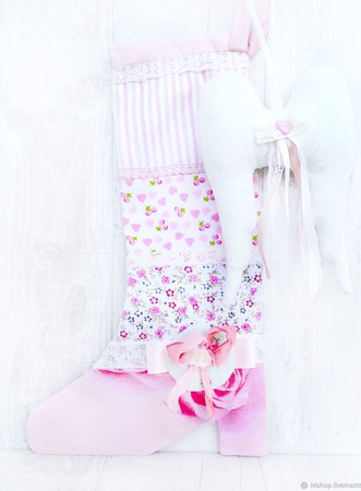 Новогодний сапожок для подарков для девочки ручной работы на заказ