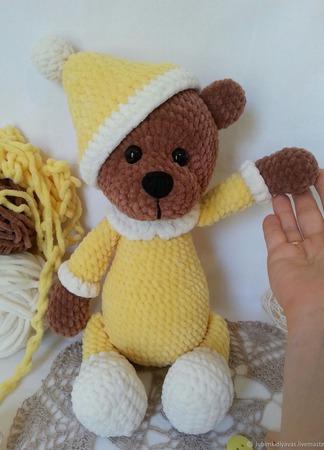 Мишка плюшевый вязаный ручной работы ручной работы на заказ