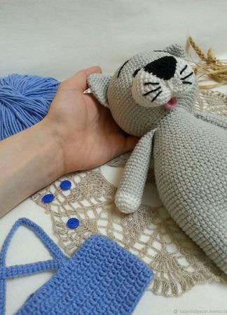Кот вязаный ручной работы ручной работы на заказ