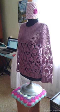 Пуловер ажурный ручной работы на заказ