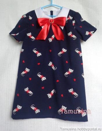 """Платье для девочки """"Кошка с бантом"""" ручной работы на заказ"""