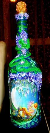 """Подарочная бутылка под напитки """"Влюбленные"""" ручной работы на заказ"""