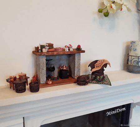 Камин - миниатюра для кукол и кукольного дома ручной работы на заказ