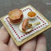 Еда для кукол - Блины и икра для кукольной миниатюры