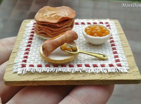 Еда для кукол - Блины и икра для кукольной миниатюры ручной работы на заказ