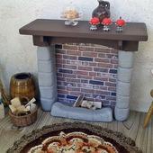 Каменный камин для кукольного дом - Аксессуары для кукольной миниатюры