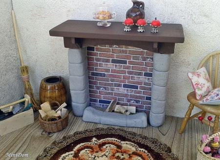 Каменный камин для кукольного дом - Аксессуары для кукольной миниатюры ручной работы на заказ